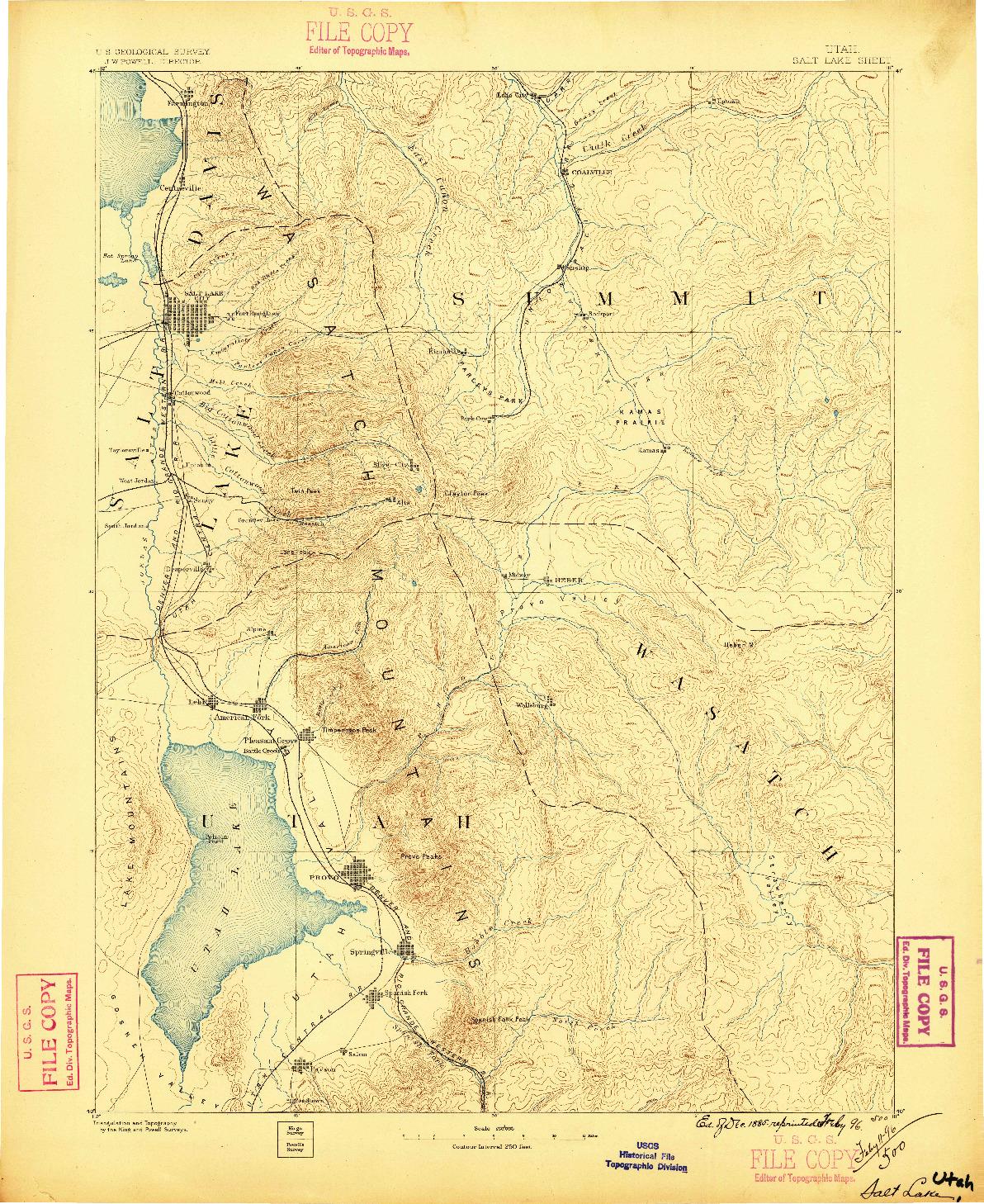 USGS 1:250000-SCALE QUADRANGLE FOR SALT LAKE, UT 1885