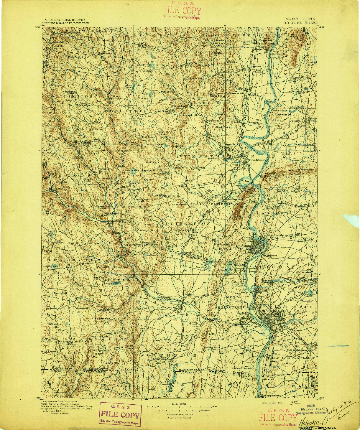 USGS 1:125000-SCALE QUADRANGLE FOR HOLYOKE, MA 1896