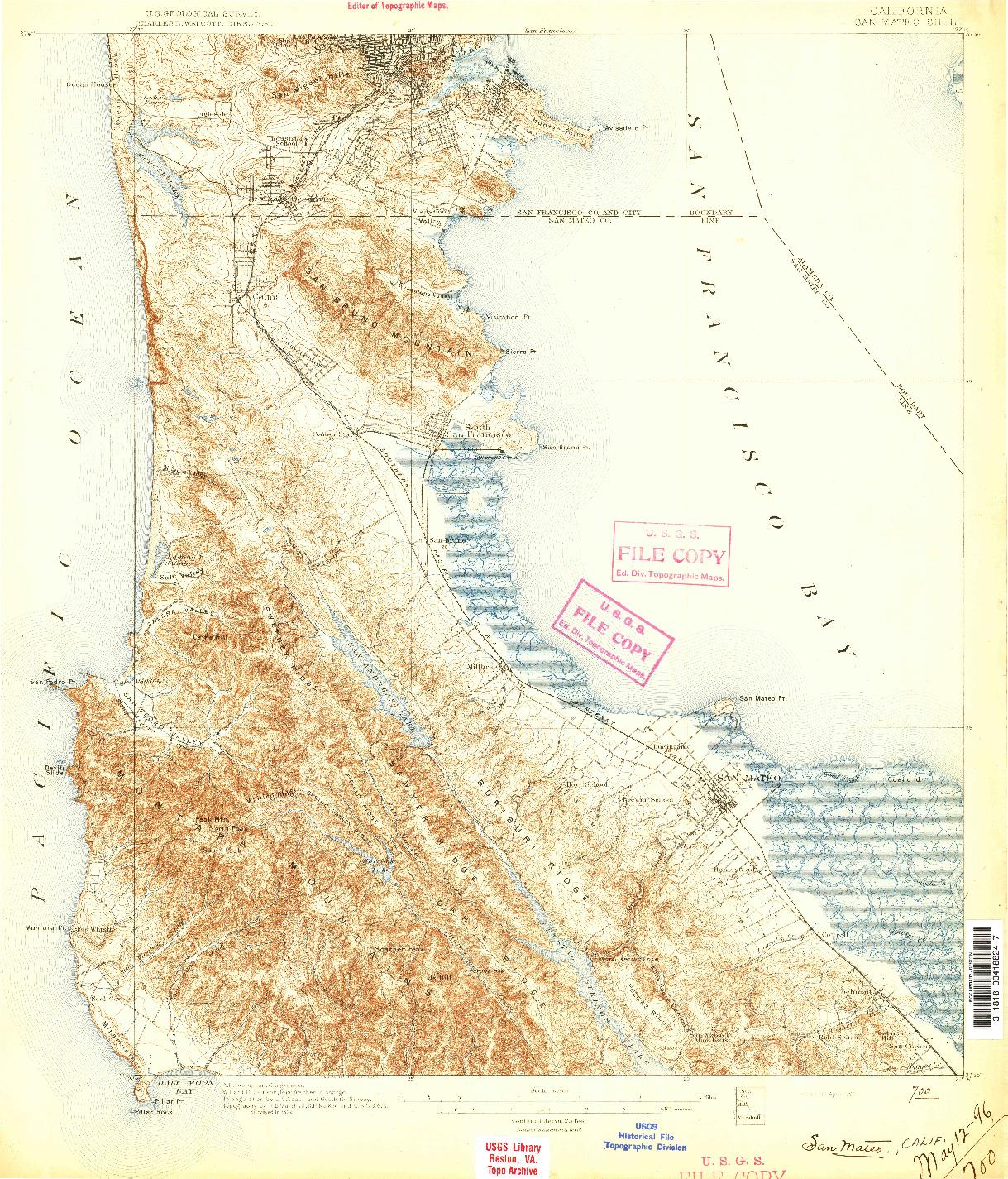 USGS 1:62500-SCALE QUADRANGLE FOR SAN MATEO, CA 1896