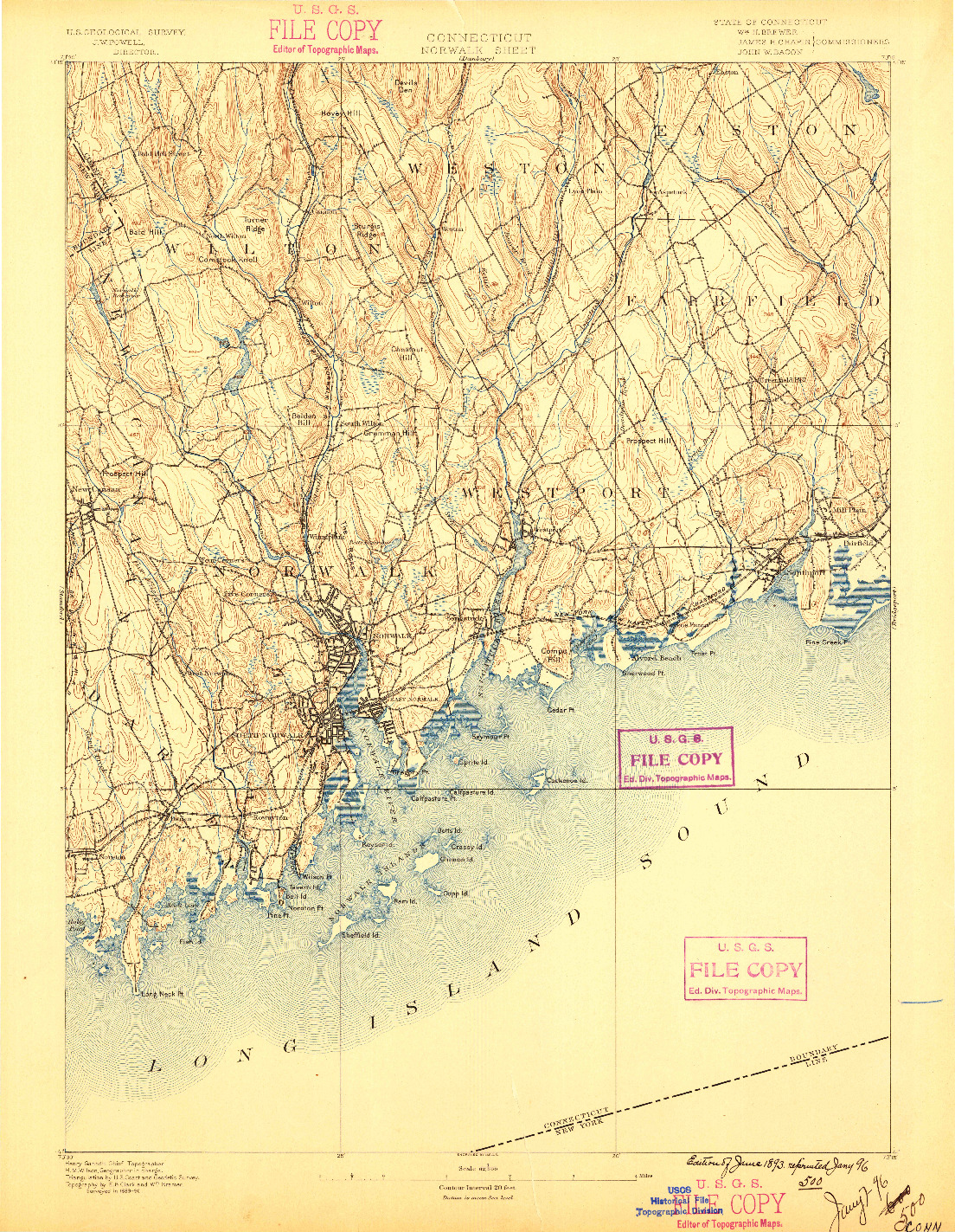 USGS 1:62500-SCALE QUADRANGLE FOR NORWALK, CT 1893