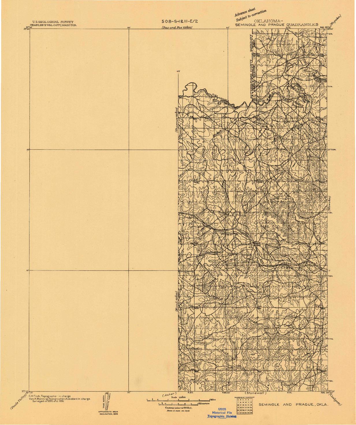 USGS 1:125000-SCALE QUADRANGLE FOR SEMINOLE AND PRAGUE, OK 1896