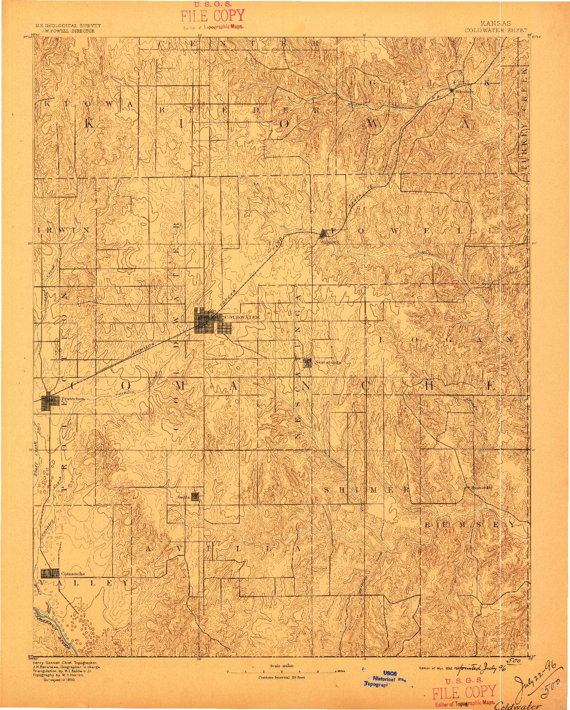 USGS 1:125000-SCALE QUADRANGLE FOR COLDWATER, KS 1892