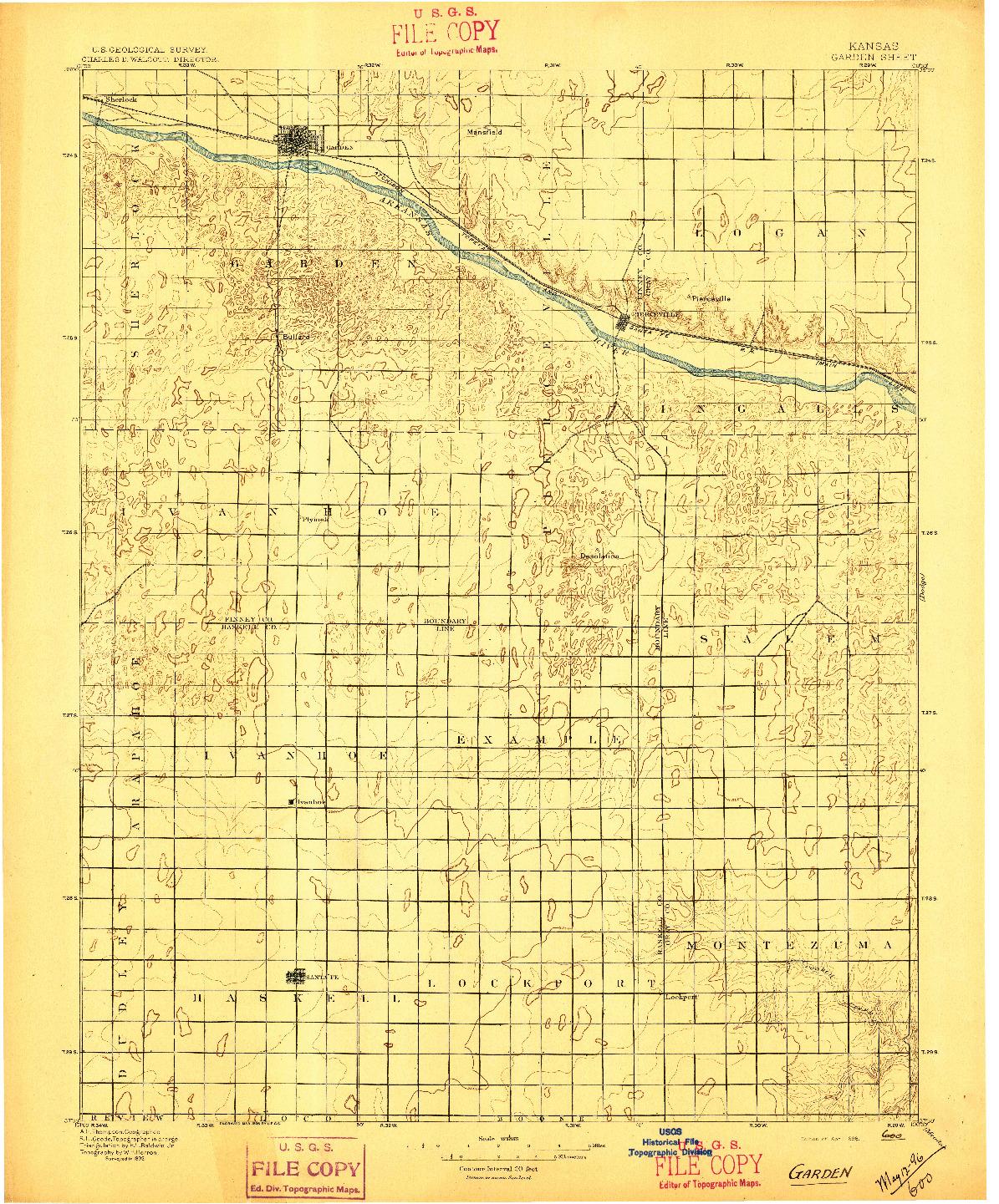 USGS 1:125000-SCALE QUADRANGLE FOR GARDEN, KS 1896