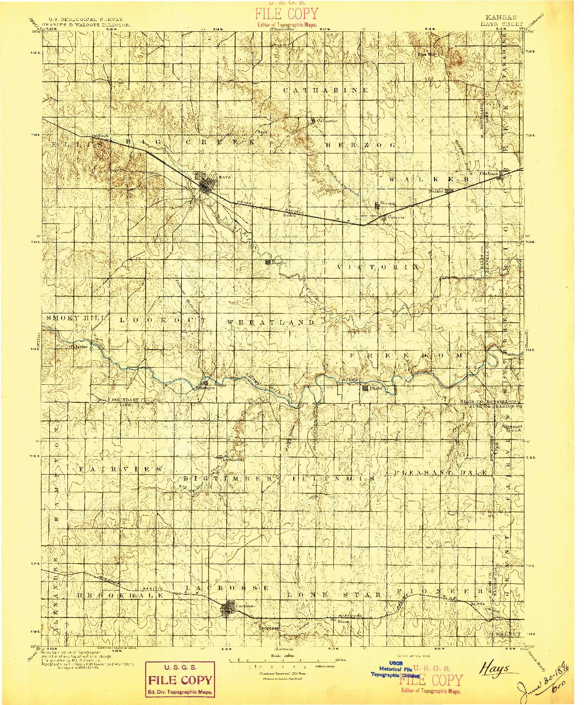 USGS 1:125000-SCALE QUADRANGLE FOR HAYS, KS 1896