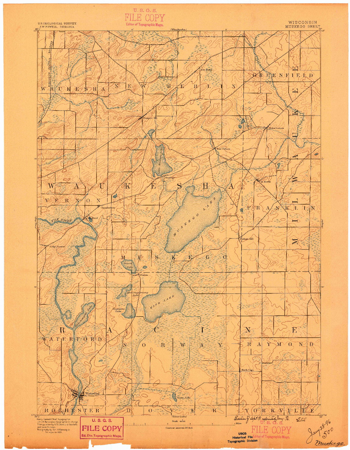 USGS 1:62500-SCALE QUADRANGLE FOR MUSKEGO, WI 1891