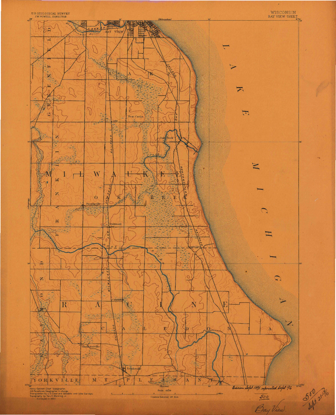 USGS 1:62500-SCALE QUADRANGLE FOR BAYVIEW, WI 1891