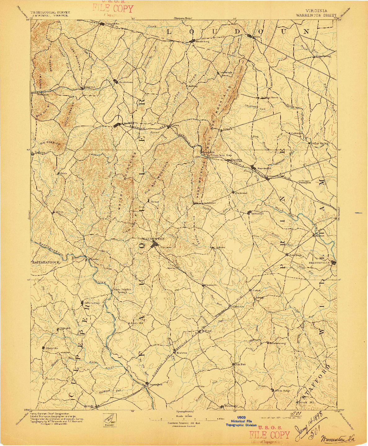 USGS 1:62500-SCALE QUADRANGLE FOR WARRENTON, VA 1894