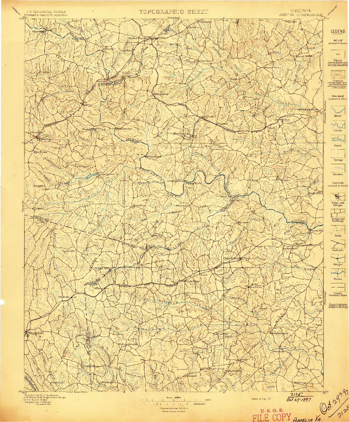 USGS 1:125000-SCALE QUADRANGLE FOR AMELIA, VA 1897