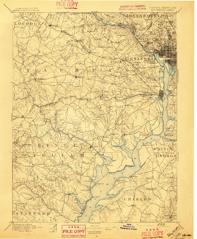 USGS 1:125000-SCALE QUADRANGLE FOR MT. VERNON, VA 1897