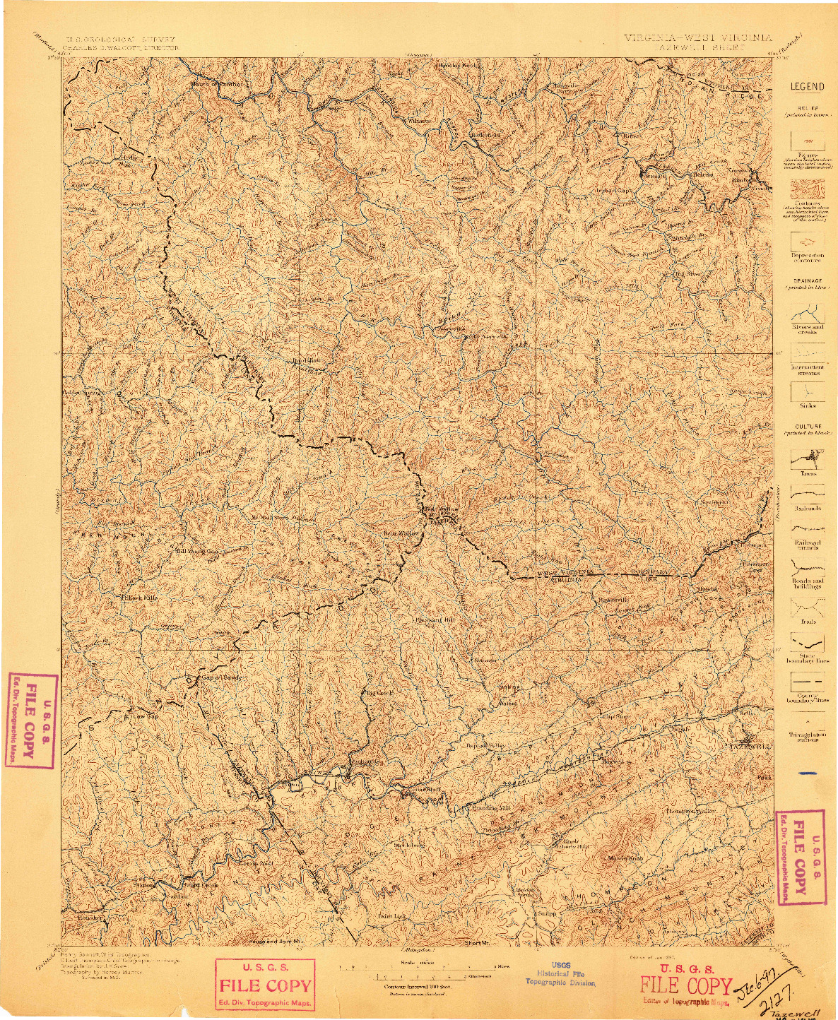 USGS 1:125000-SCALE QUADRANGLE FOR TAZEWELL, VA 1897