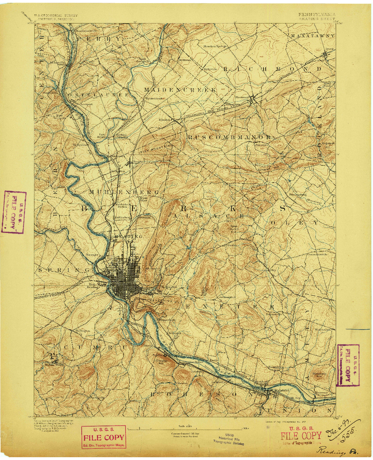 USGS 1:62500-SCALE QUADRANGLE FOR READING, PA 1894