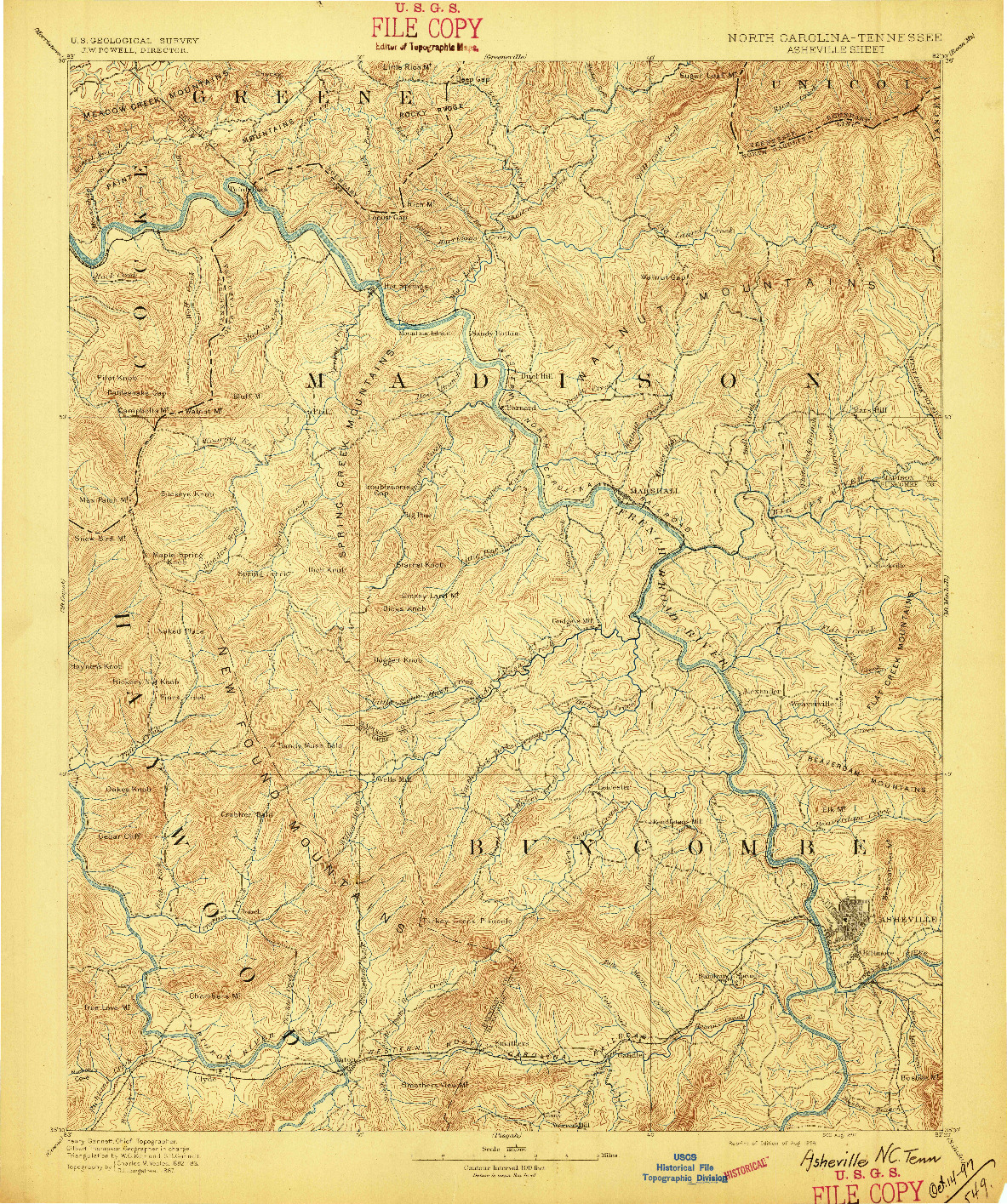 USGS 1:125000-SCALE QUADRANGLE FOR ASHEVILLE, NC 1894