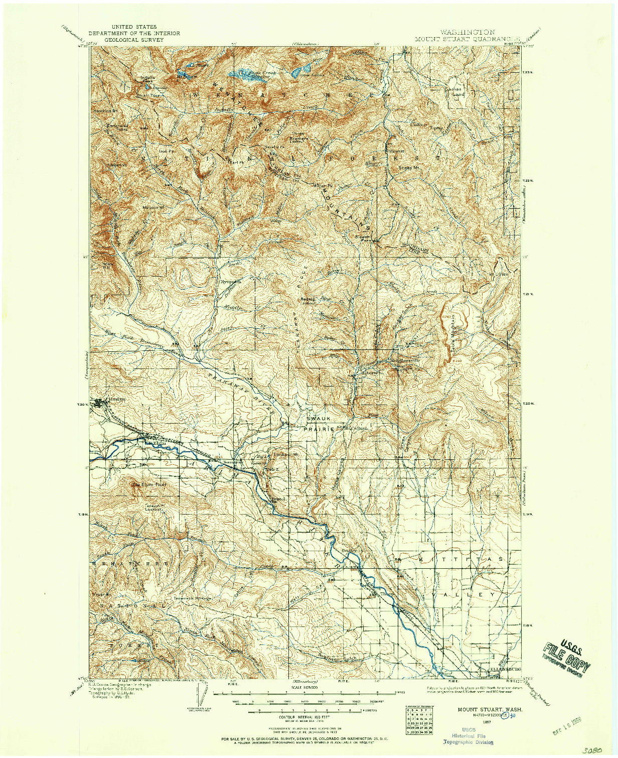 USGS 1:125000-SCALE QUADRANGLE FOR MOUNT STUART, WA 1897