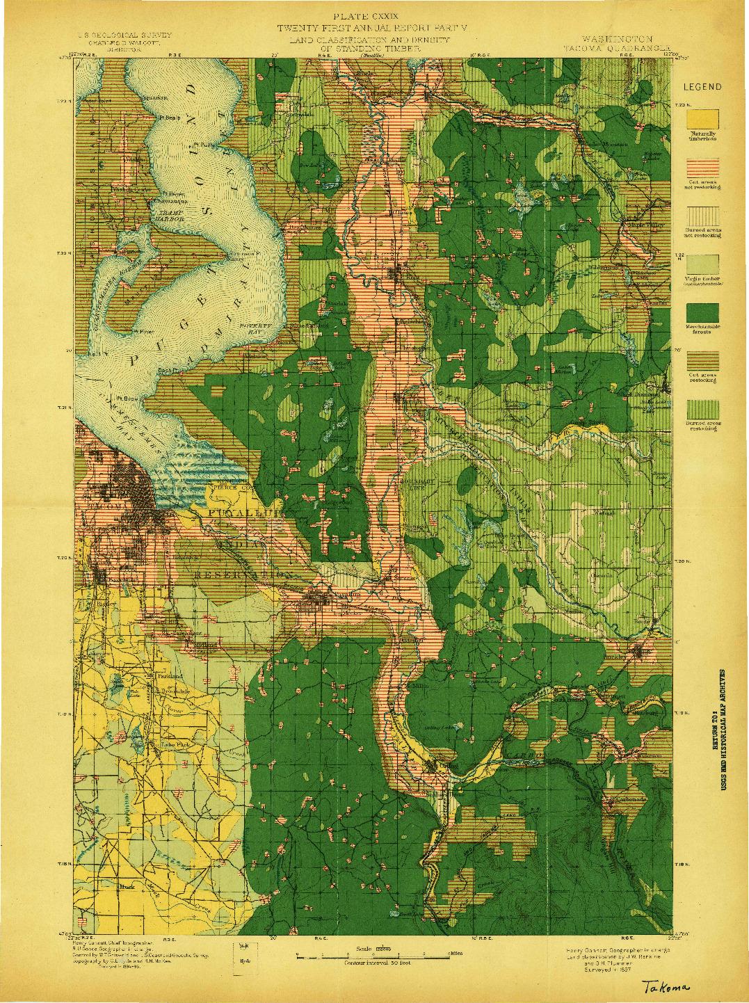 USGS 1:125000-SCALE QUADRANGLE FOR TACOMA, WA 1897