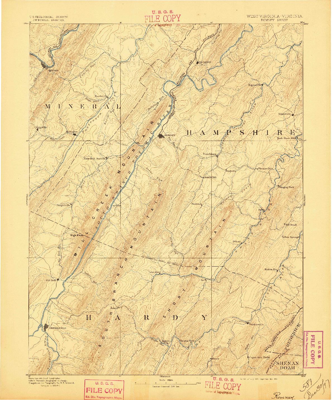 USGS 1:125000-SCALE QUADRANGLE FOR ROMNEY, WV 1891