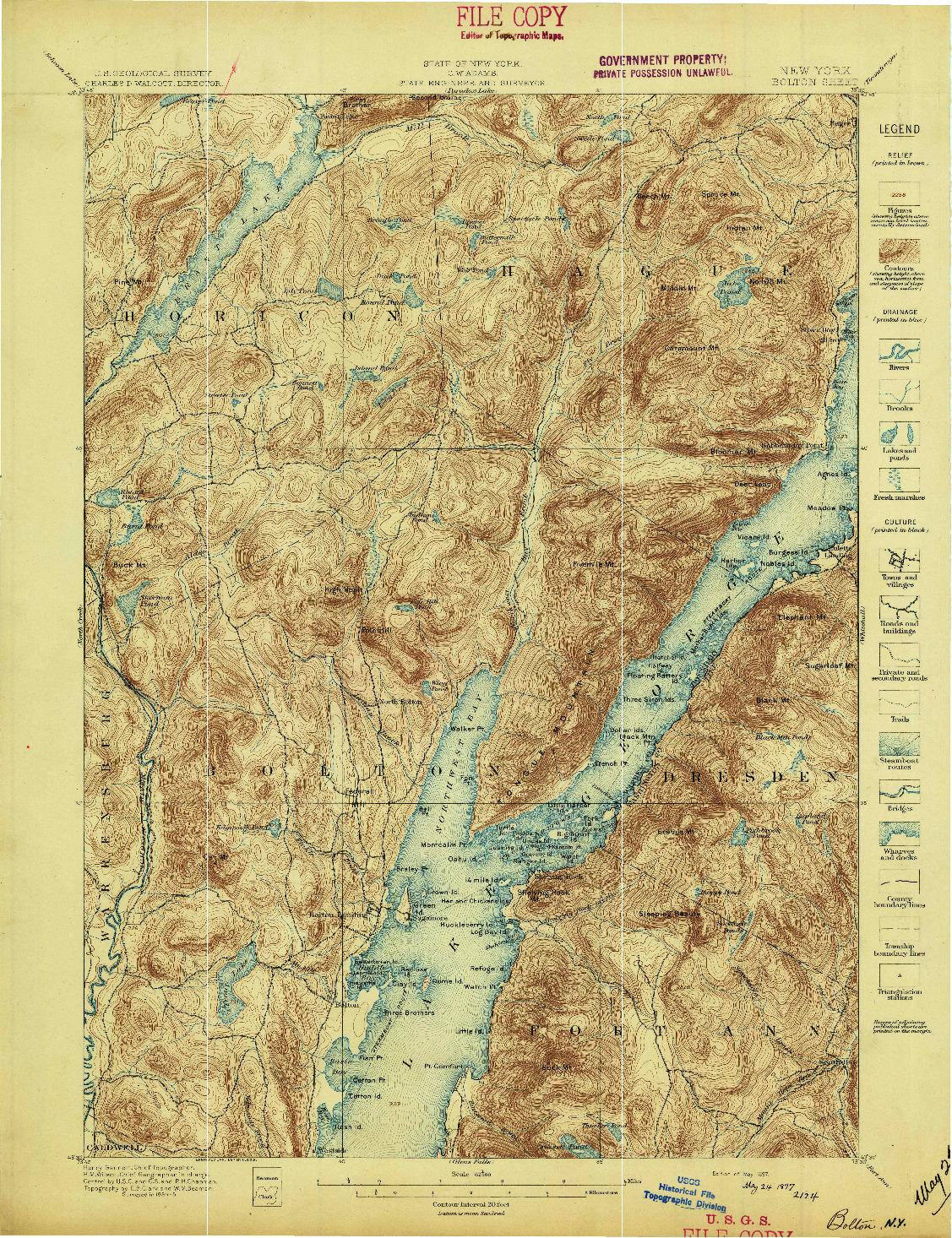 USGS 1:62500-SCALE QUADRANGLE FOR BOLTON, NY 1897