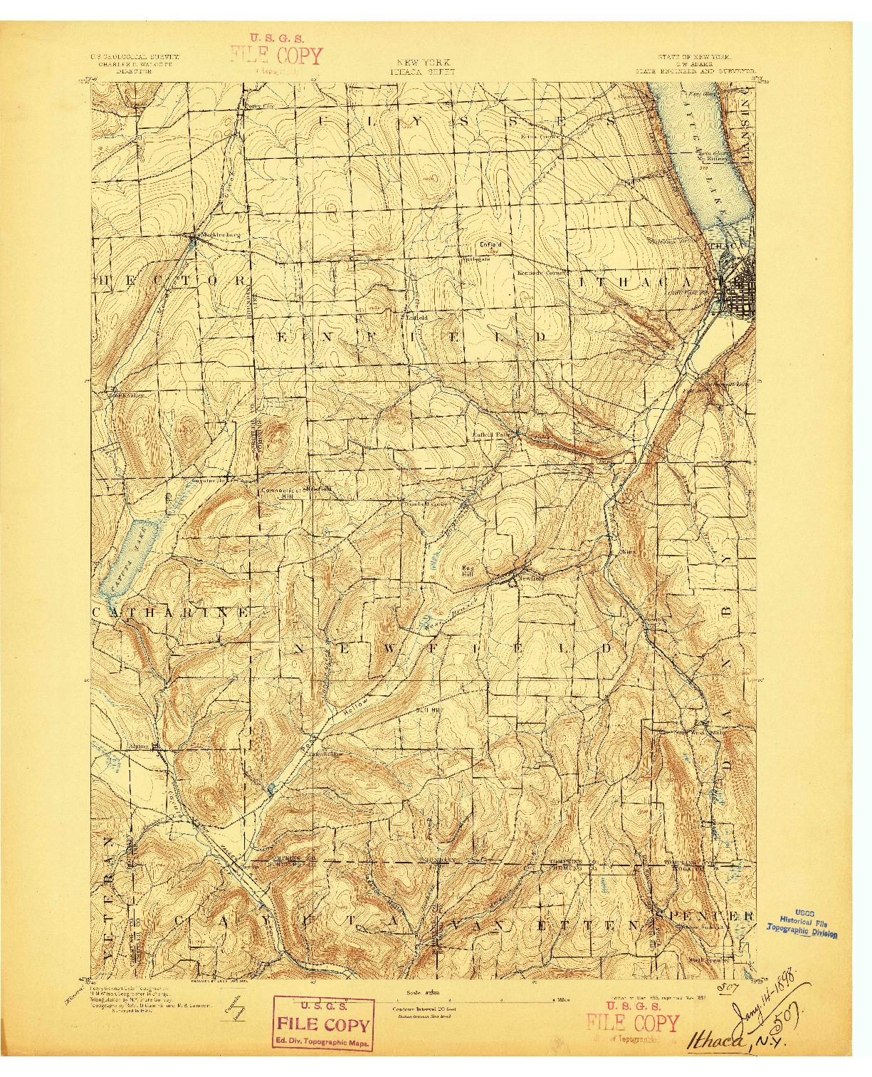 USGS 1:62500-SCALE QUADRANGLE FOR ITHACA, NY 1895