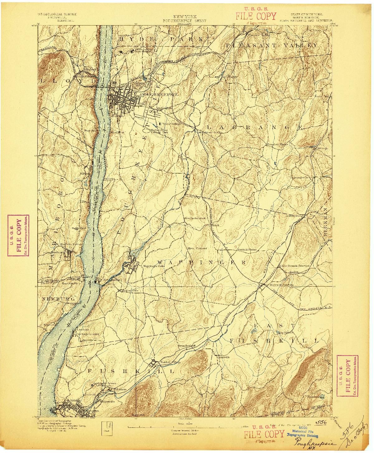 USGS 1:62500-SCALE QUADRANGLE FOR POUGHKEEPSIE, NY 1894