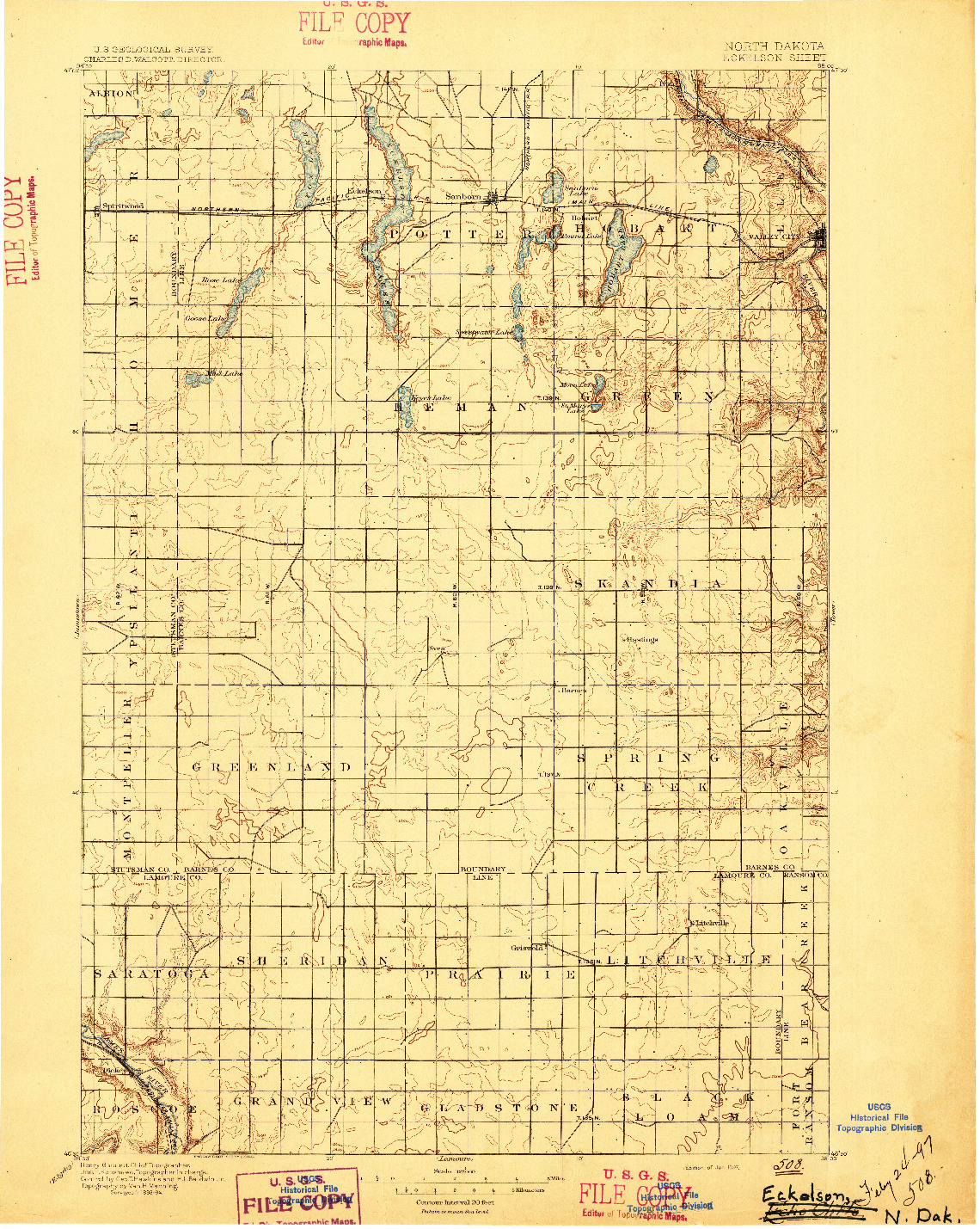 USGS 1:125000-SCALE QUADRANGLE FOR ECKELSON, ND 1897