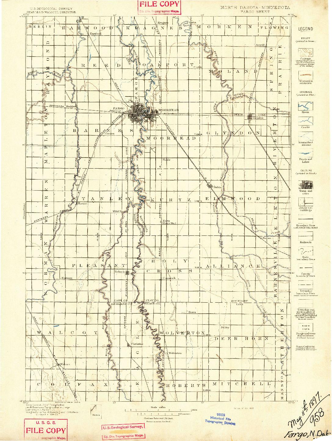 USGS 1:125000-SCALE QUADRANGLE FOR FARGO, ND 1897