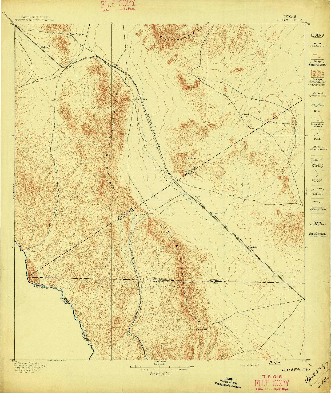 USGS 1:125000-SCALE QUADRANGLE FOR CHISPA, TX 1897