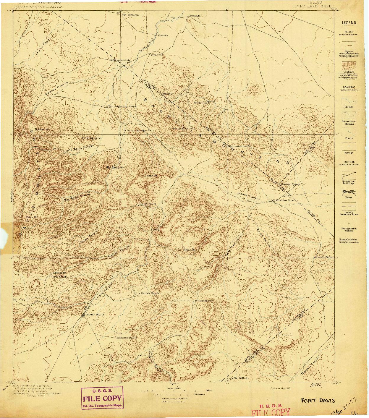 USGS 1:125000-SCALE QUADRANGLE FOR FORT DAVIS, TX 1897