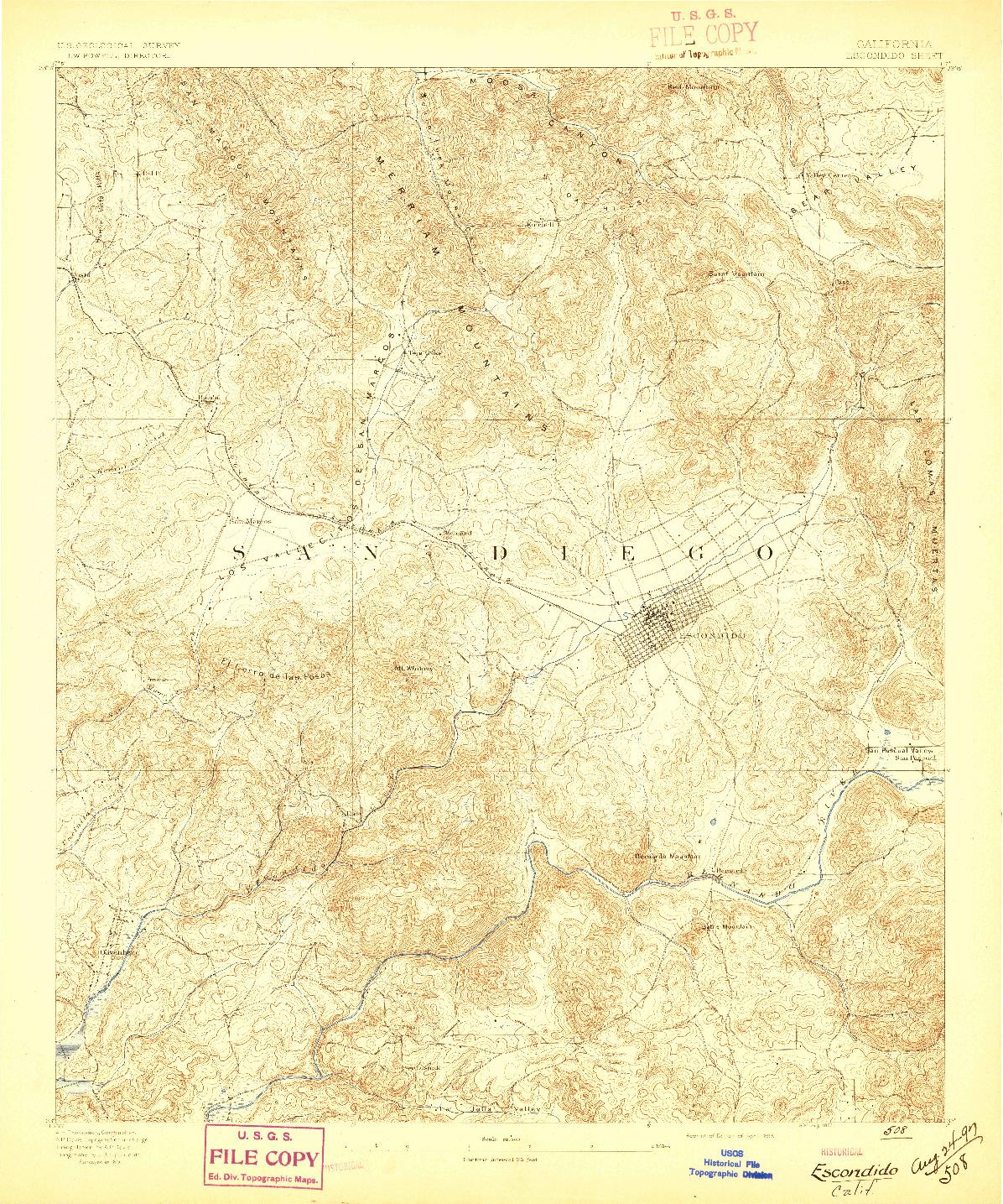 USGS 1:62500-SCALE QUADRANGLE FOR ESCONDIDO, CA 1893