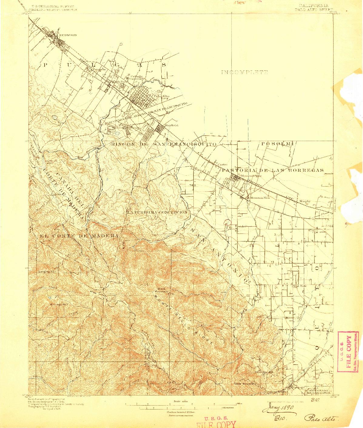 USGS 1:62500-SCALE QUADRANGLE FOR PALO ALTO, CA 1897