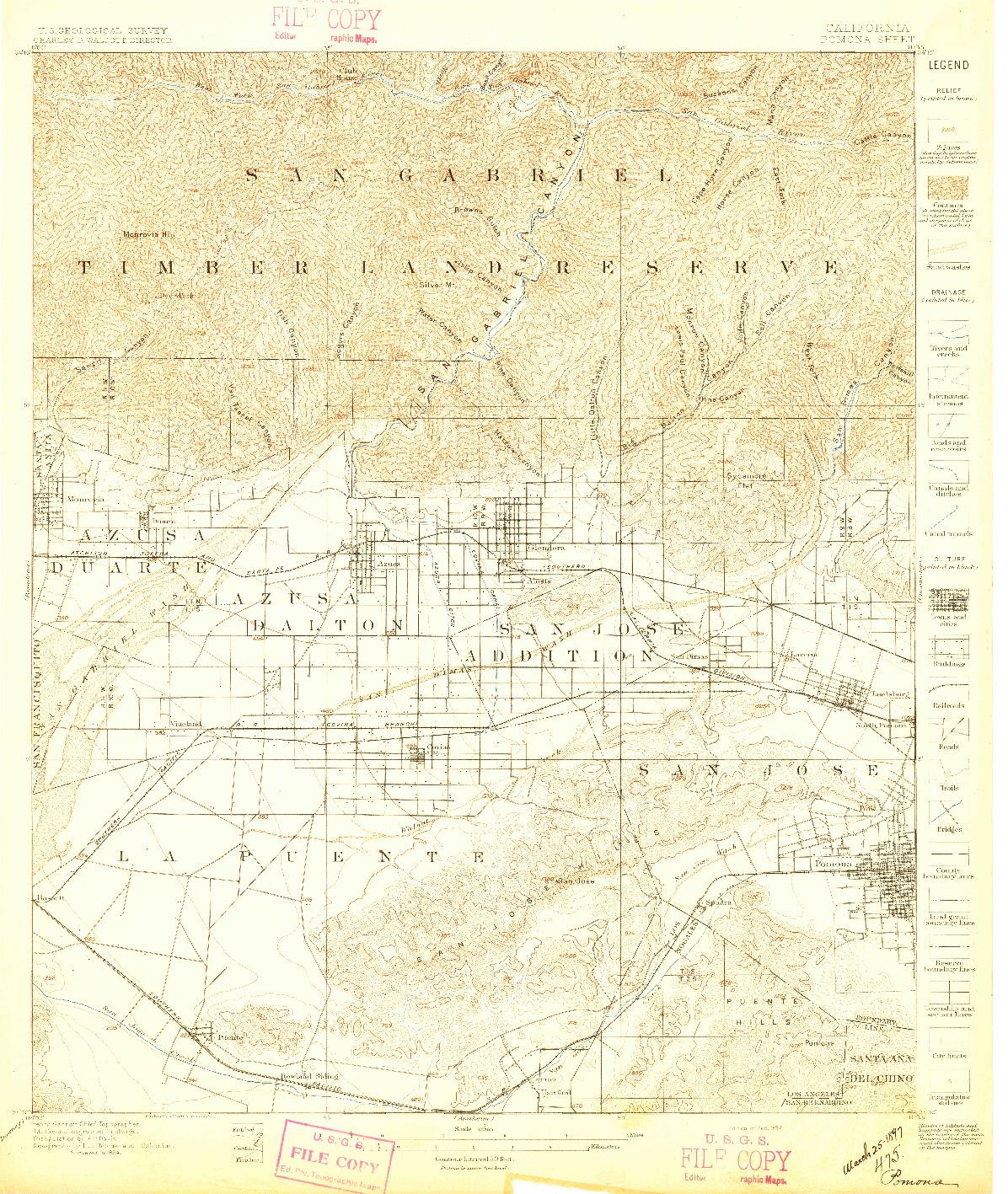 USGS 1:62500-SCALE QUADRANGLE FOR POMONA, CA 1897