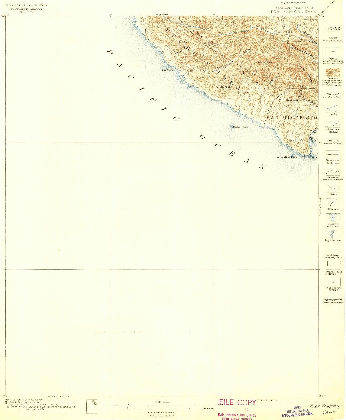USGS 1:62500-SCALE QUADRANGLE FOR PORT HARFORD, CA 1897
