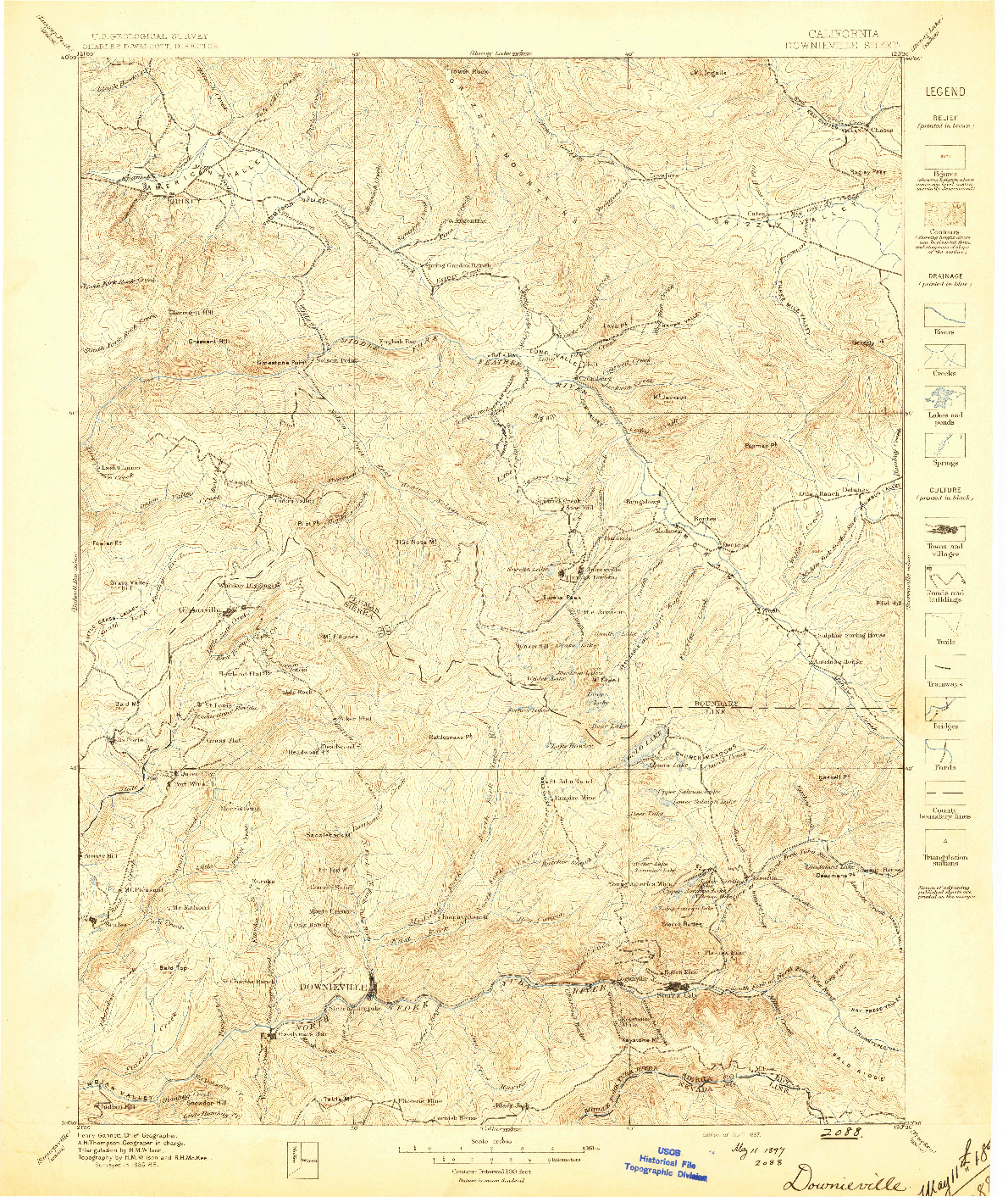 USGS 1:125000-SCALE QUADRANGLE FOR DOWNIEVILLE, CA 1897