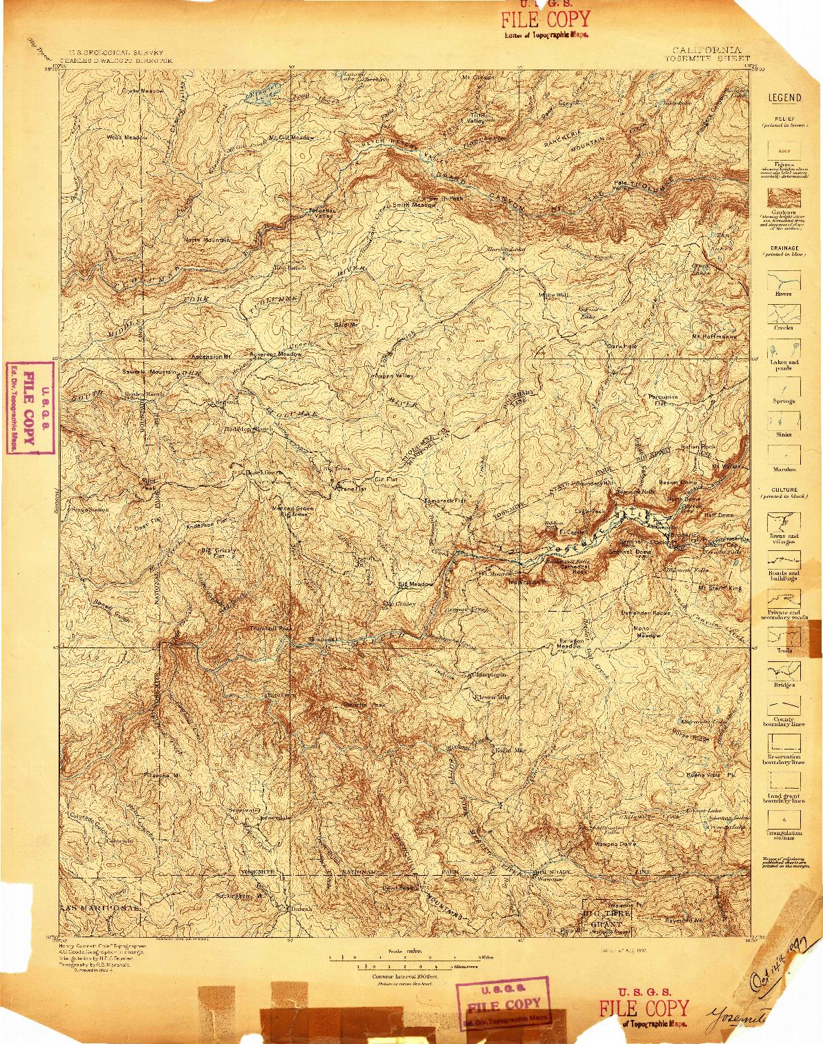 USGS 1:125000-SCALE QUADRANGLE FOR YOSEMITE, CA 1897