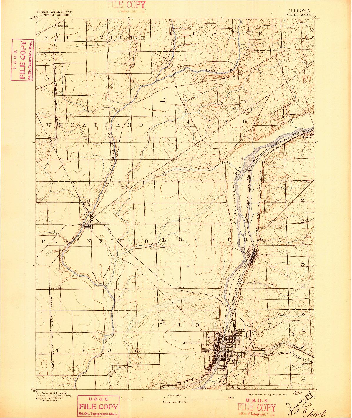 USGS 1:62500-SCALE QUADRANGLE FOR JOLIET, IL 1892