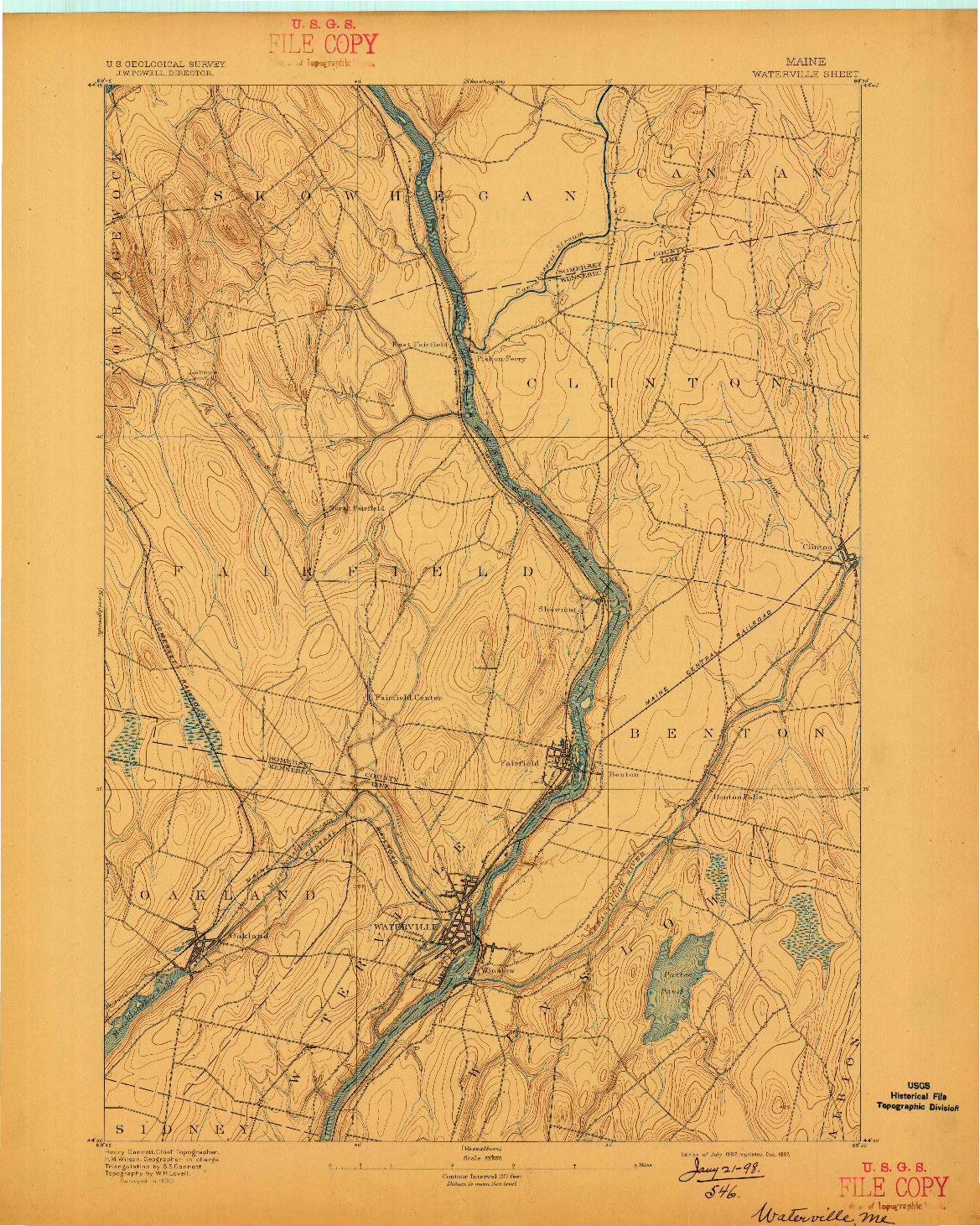 USGS 1:62500-SCALE QUADRANGLE FOR WATERVILLE, ME 1892