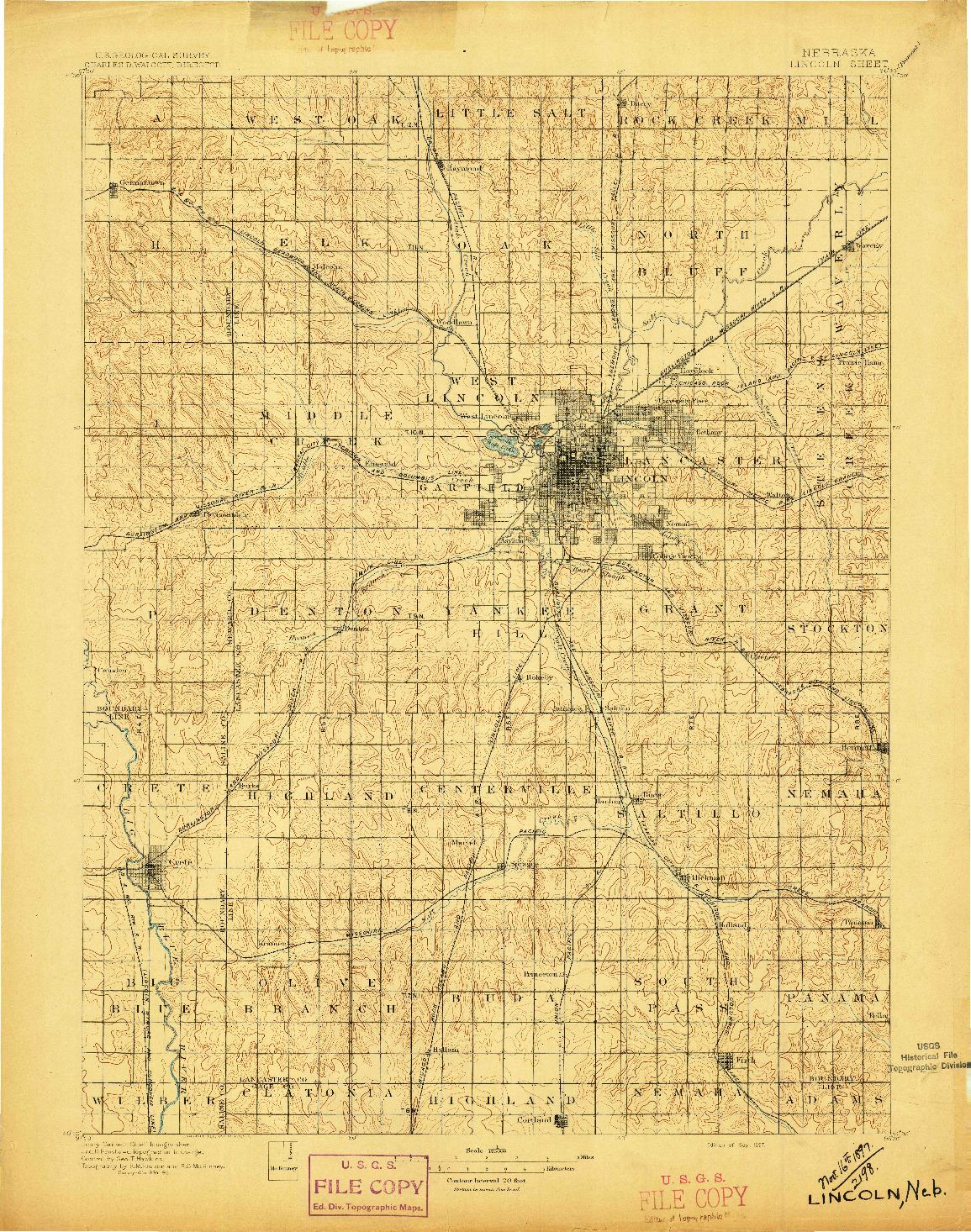 USGS 1:125000-SCALE QUADRANGLE FOR LINCOLN, NE 1897