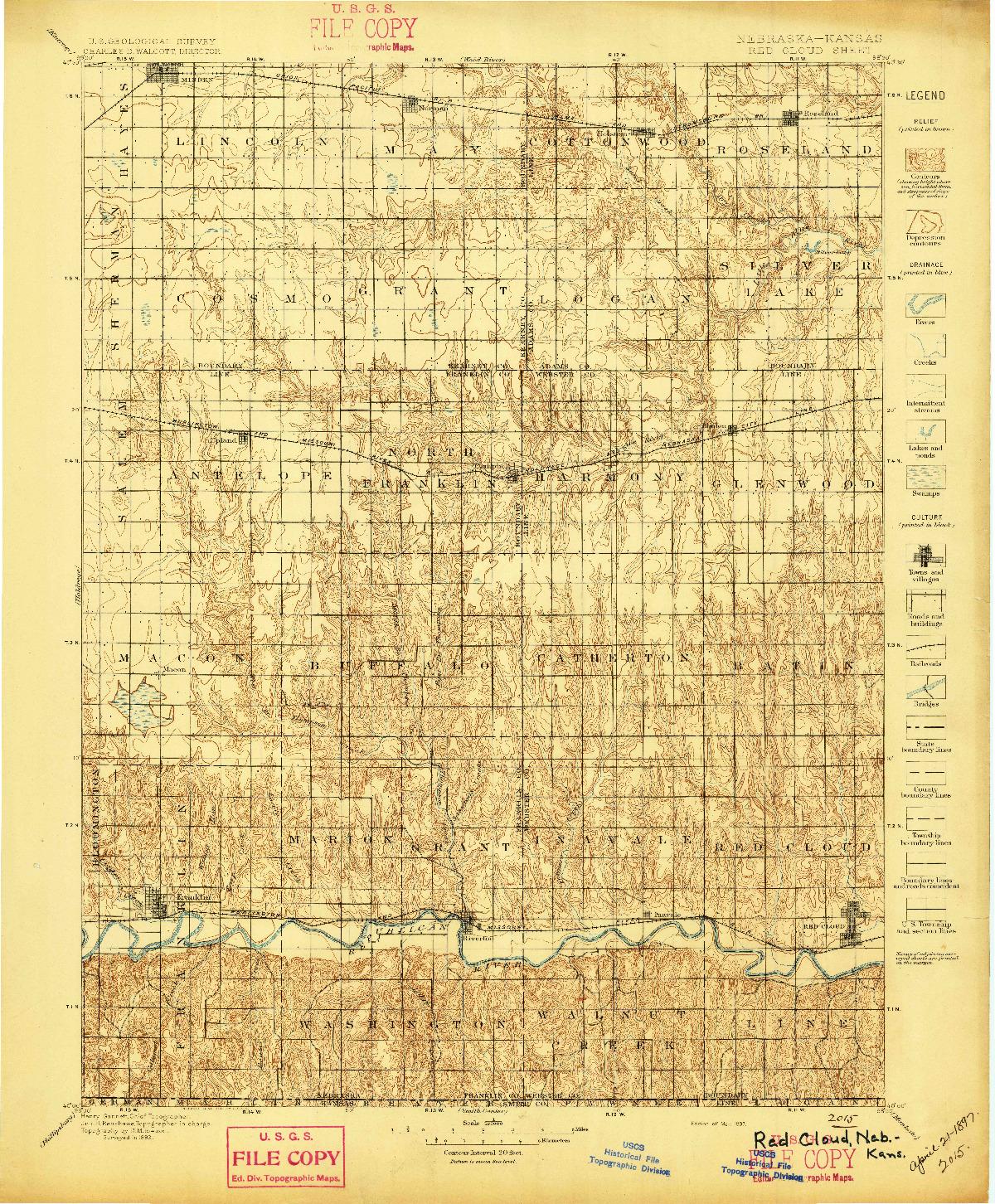 USGS 1:125000-SCALE QUADRANGLE FOR RED CLOUD, NE 1897
