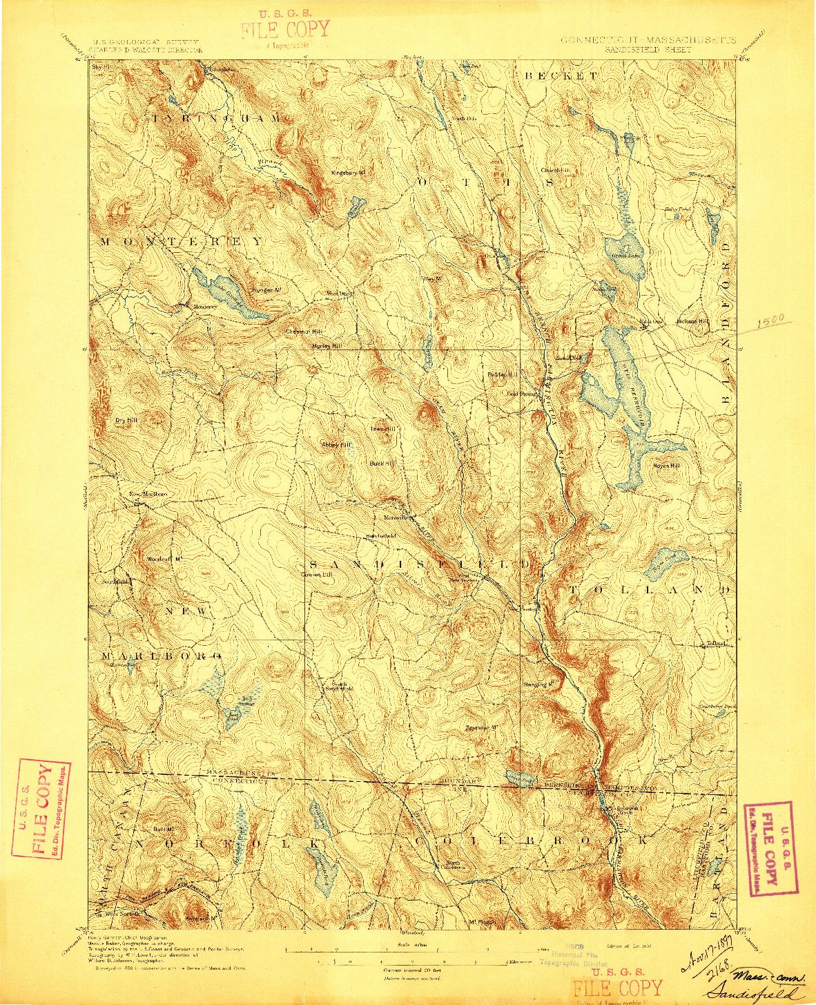 USGS 1:62500-SCALE QUADRANGLE FOR SANDISFIELD, CT 1897
