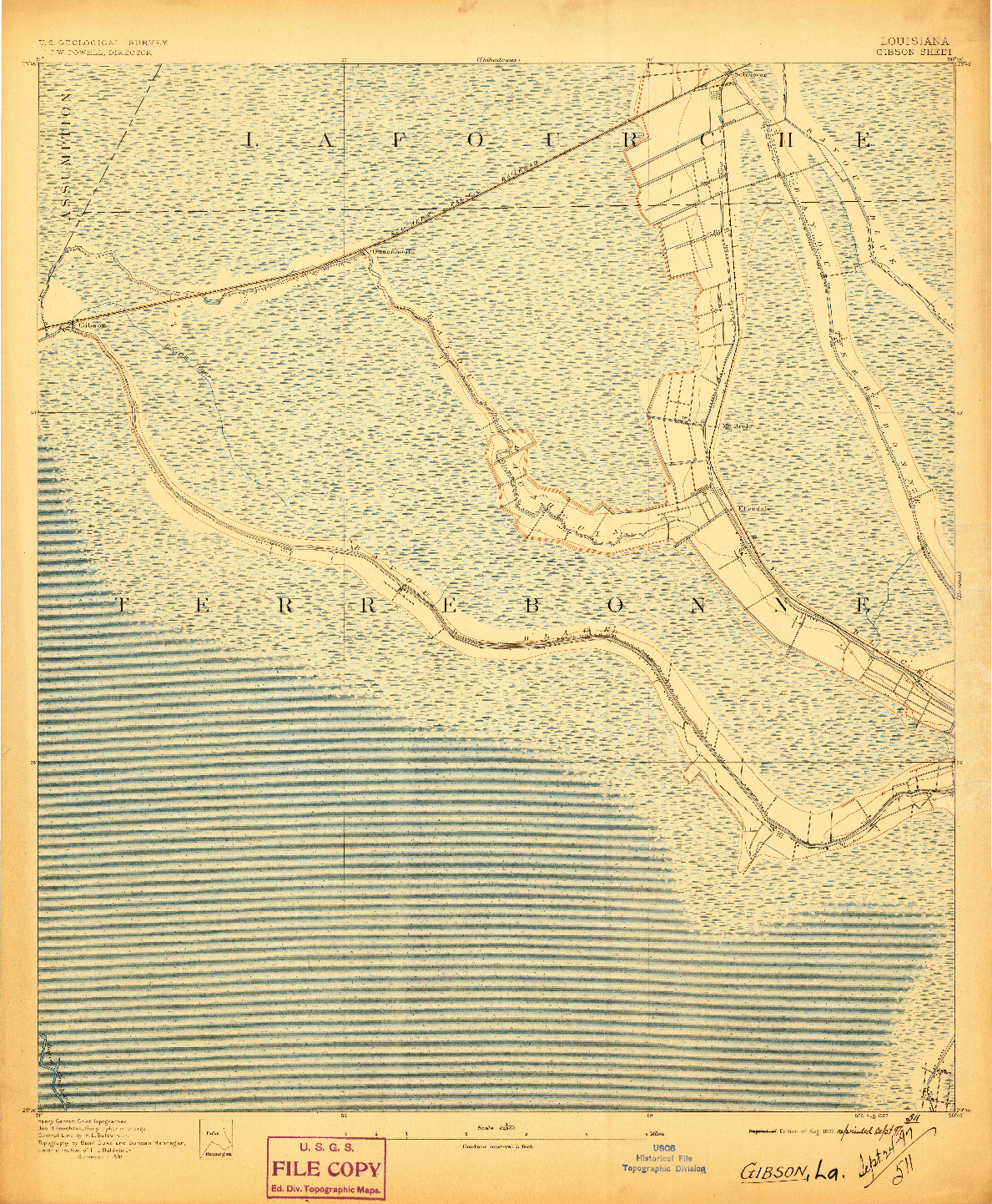 USGS 1:62500-SCALE QUADRANGLE FOR GIBSON, LA 1897