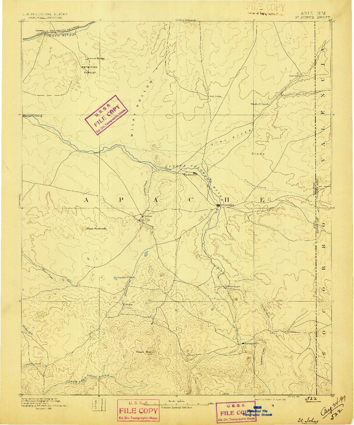 USGS 1:250000-SCALE QUADRANGLE FOR ST JOHNS, AZ 1892