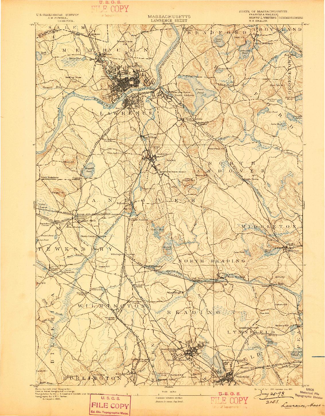 USGS 1:62500-SCALE QUADRANGLE FOR LAWRENCE, MA 1893