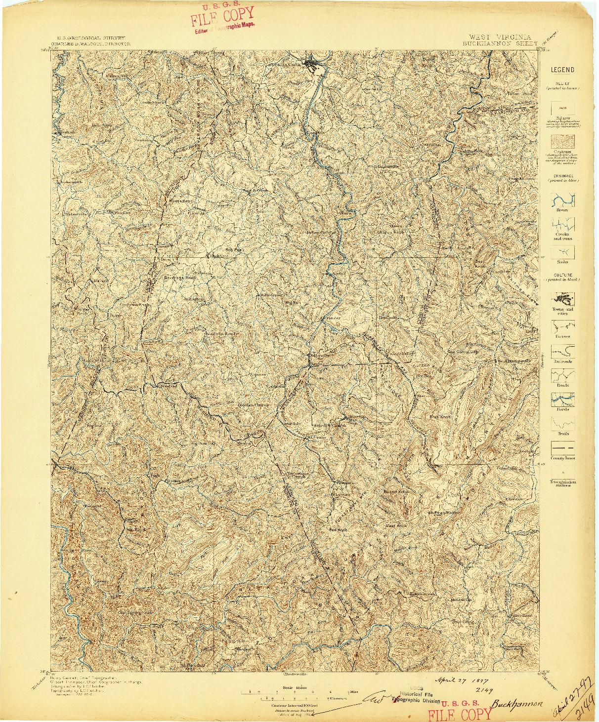 USGS 1:125000-SCALE QUADRANGLE FOR BUCKHANNON, WV 1897