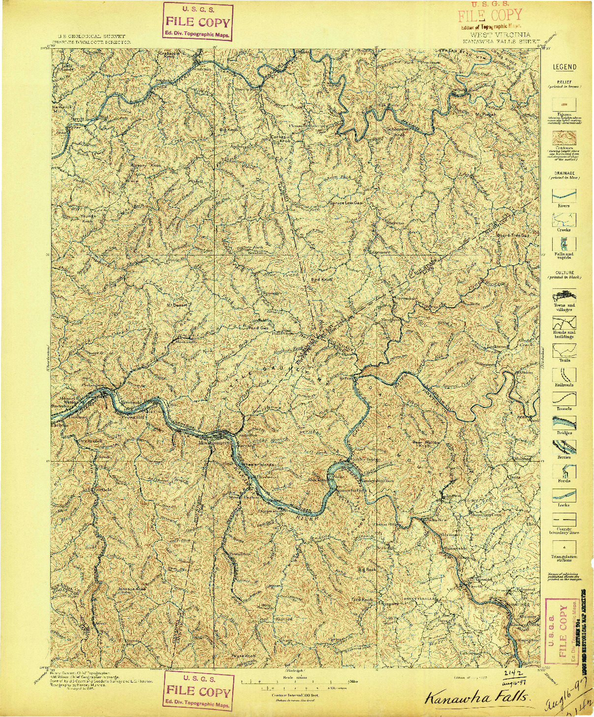 USGS 1:125000-SCALE QUADRANGLE FOR KANAWHA FALLS, WV 1897
