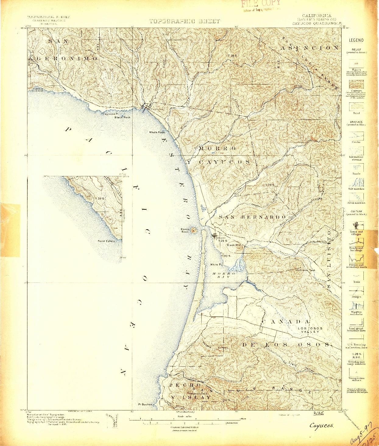 USGS 1:62500-SCALE QUADRANGLE FOR CAYUCOS, CA 1897
