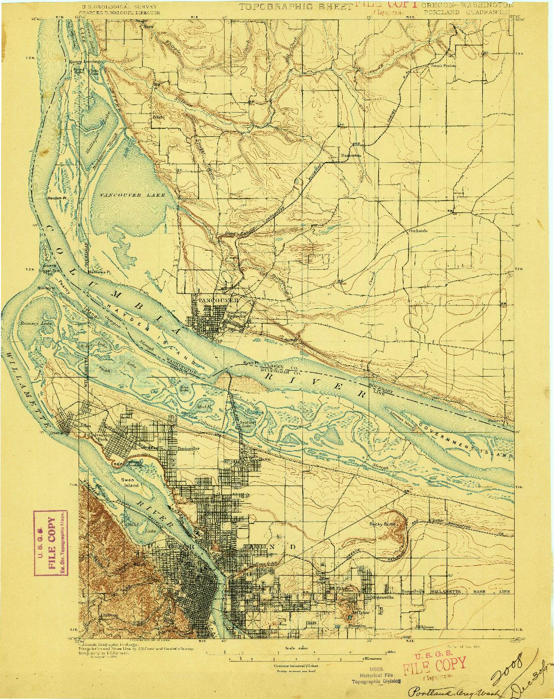 USGS 1:62500-SCALE QUADRANGLE FOR PORTLAND, OR 1897