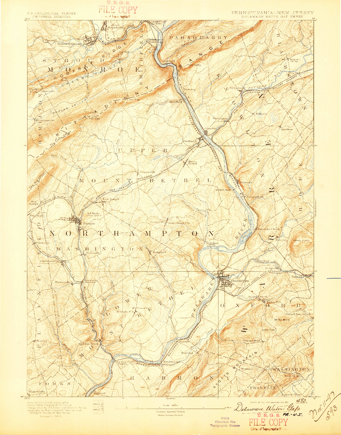 USGS 1:62500-SCALE QUADRANGLE FOR DELAWARE WATER GAP, PA 1893