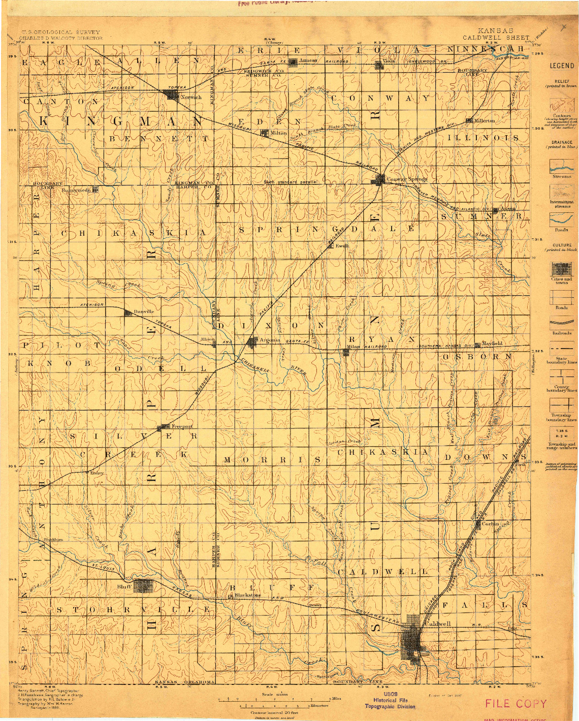 USGS 1:125000-SCALE QUADRANGLE FOR CALDWELL, KS 1897
