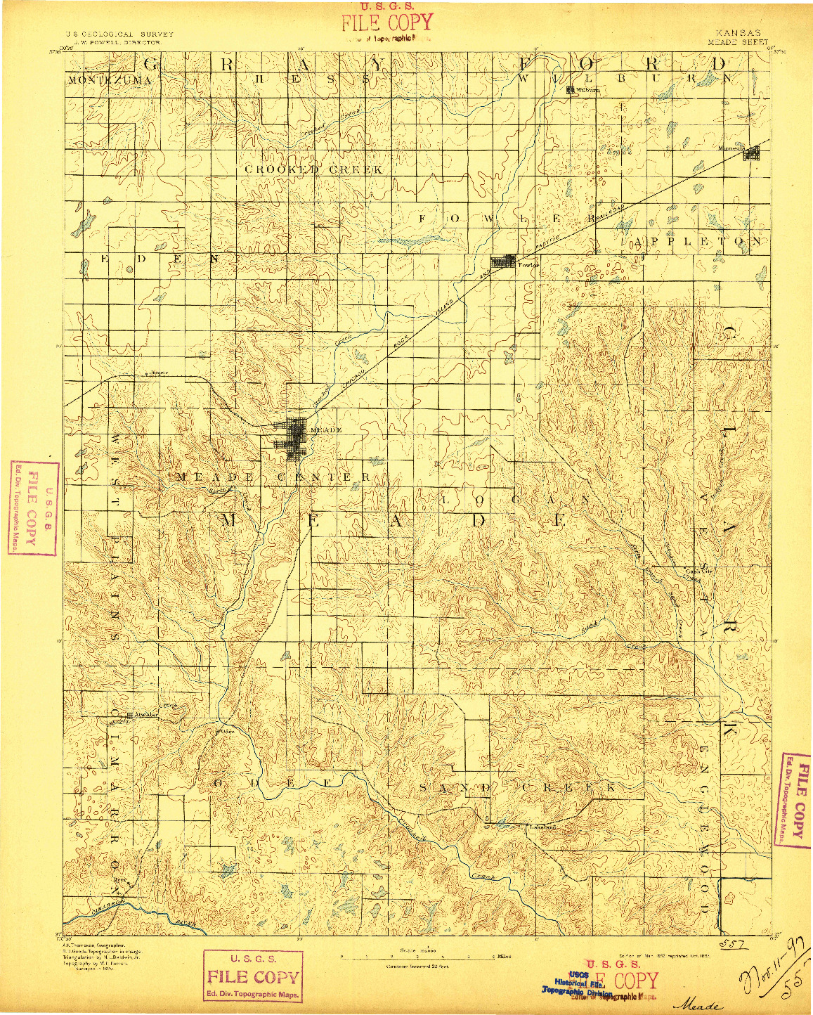 USGS 1:125000-SCALE QUADRANGLE FOR MEADE, KS 1892