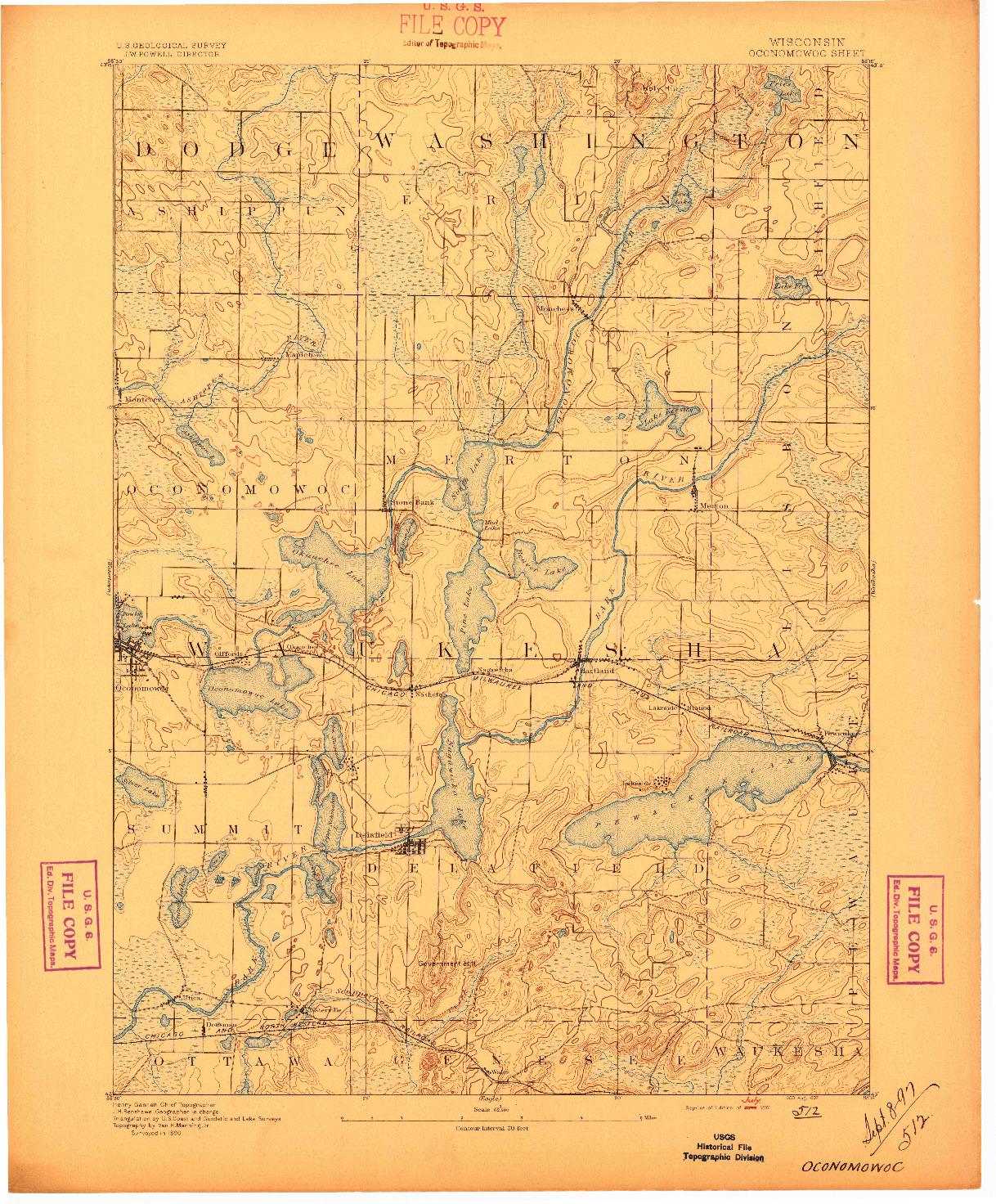 USGS 1:62500-SCALE QUADRANGLE FOR OCONOMOWOC, WI 1892