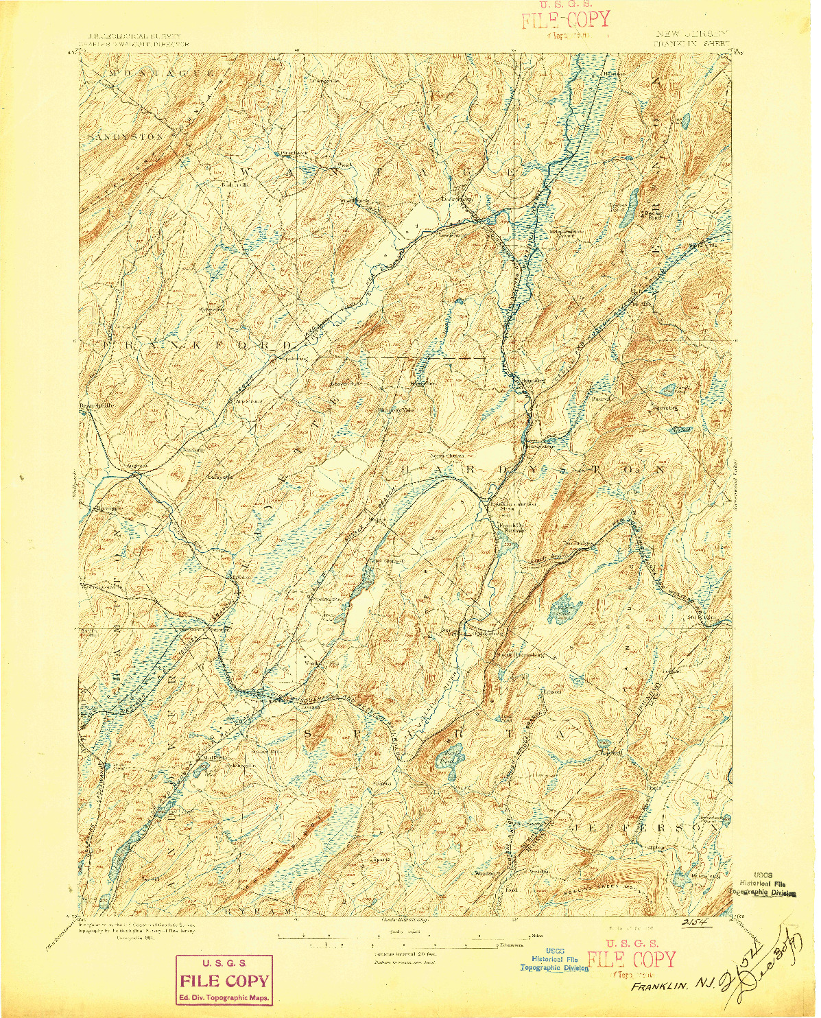USGS 1:62500-SCALE QUADRANGLE FOR FRANKLIN, NJ 1897