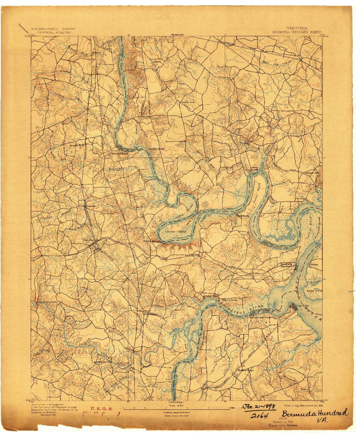 USGS 1:62500-SCALE QUADRANGLE FOR BERMUDA HUNDRED, VA 1894